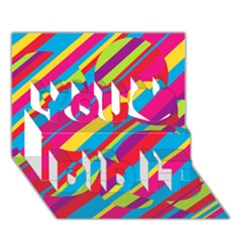 Colorful Summer Pattern You Did It 3d Greeting Card (7x5) by Valentinaart