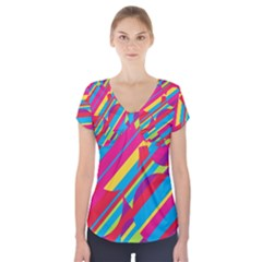 Colorful summer pattern Short Sleeve Front Detail Top by Valentinaart