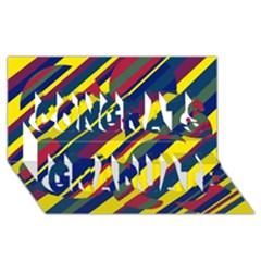 Colorful Pattern Congrats Graduate 3d Greeting Card (8x4)
