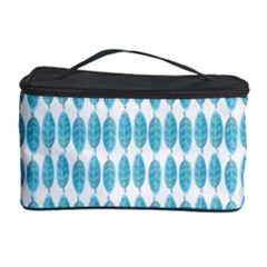 Blue Watercolour Leaf Pattern Cosmetic Storage Case by TanyaDraws