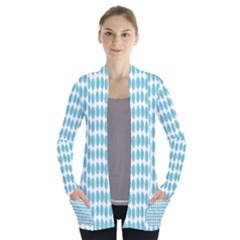 Blue Watercolour Leaf Pattern Women s Open Front Pockets Cardigan(p194)