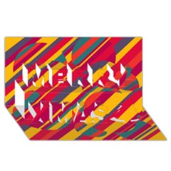 Colorful Hot Pattern Merry Xmas 3d Greeting Card (8x4)  by Valentinaart