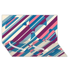 Blue And Pink Pattern Twin Heart Bottom 3d Greeting Card (8x4)  by Valentinaart