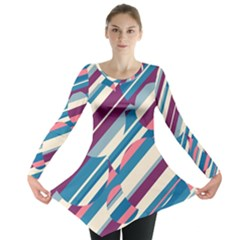 Blue And Pink Pattern Long Sleeve Tunic  by Valentinaart