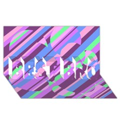 Pink, Purple And Green Pattern Best Bro 3d Greeting Card (8x4)  by Valentinaart