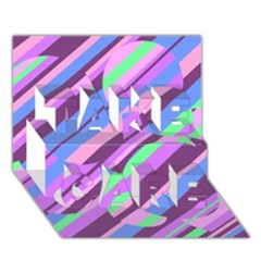 Pink, Purple And Green Pattern Take Care 3d Greeting Card (7x5)