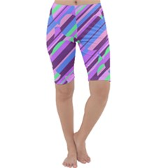 Pink, Purple And Green Pattern Cropped Leggings  by Valentinaart
