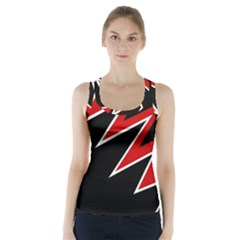 Black And Red Simple Design Racer Back Sports Top by Valentinaart