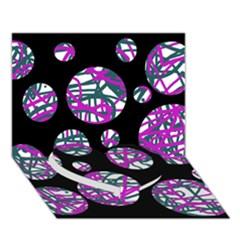 Purple Decorative Design Heart Bottom 3d Greeting Card (7x5)