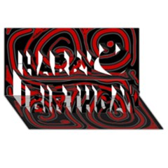 Red And Black Abstraction Happy Birthday 3d Greeting Card (8x4)  by Valentinaart