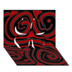 Red And Black Abstraction Clover 3d Greeting Card (7x5)  by Valentinaart