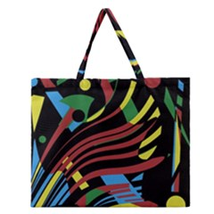 Colorful Decorative Abstrat Design Zipper Large Tote Bag by Valentinaart
