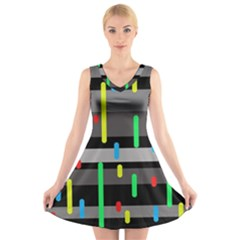 Colorful pattern V-Neck Sleeveless Skater Dress by Valentinaart