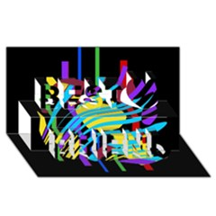 Colorful Abstract Art Best Friends 3d Greeting Card (8x4)  by Valentinaart