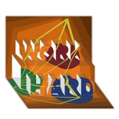 Orange Abstraction Work Hard 3d Greeting Card (7x5)