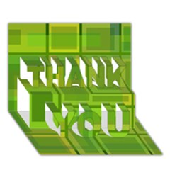 Green Pattern Thank You 3d Greeting Card (7x5)  by Valentinaart