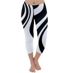 Black And White Pattern Capri Winter Leggings