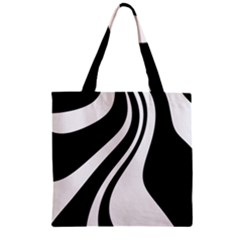 Black And White Pattern Zipper Grocery Tote Bag by Valentinaart