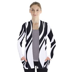 Black And White Pattern Women s Open Front Pockets Cardigan(p194) by Valentinaart