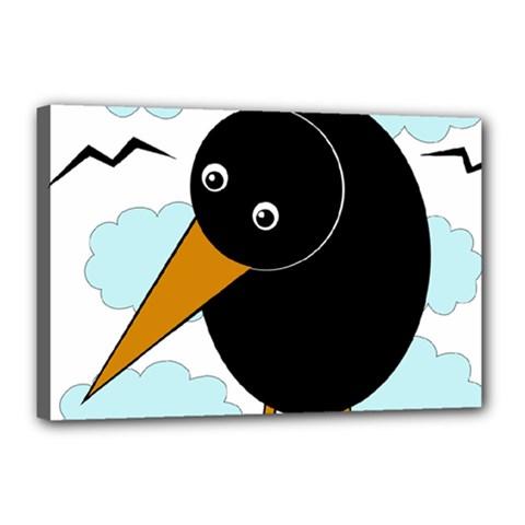 Black Raven Canvas 18  X 12  by Valentinaart