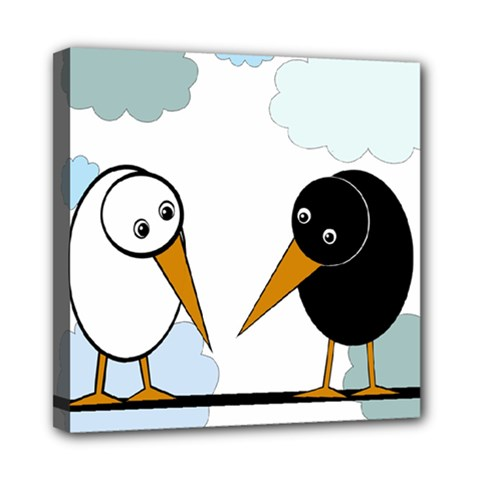 Black And White Birds Mini Canvas 8  X 8  by Valentinaart