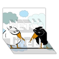 Black And White Birds Get Well 3d Greeting Card (7x5)