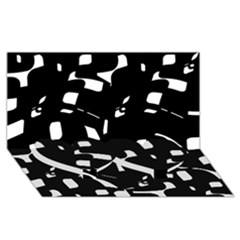 Black And White Pattern Twin Heart Bottom 3d Greeting Card (8x4)  by Valentinaart