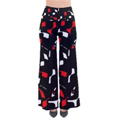 Red, Black And White Pattern Pants by Valentinaart