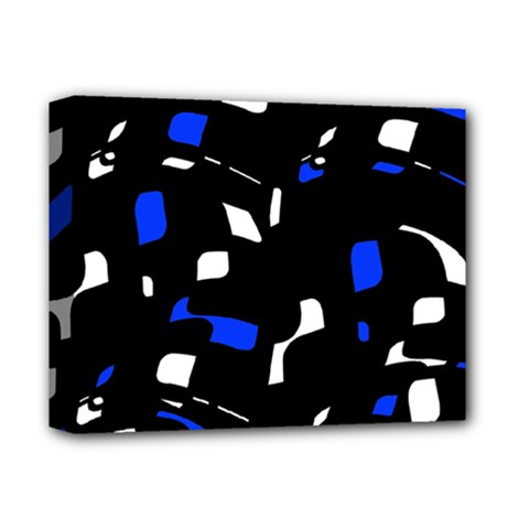 Blue, Black And White  Pattern Deluxe Canvas 14  X 11  by Valentinaart