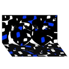 Blue, Black And White  Pattern Twin Hearts 3d Greeting Card (8x4)  by Valentinaart