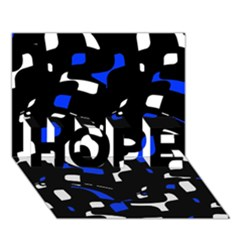 Blue, Black And White  Pattern Hope 3d Greeting Card (7x5)  by Valentinaart
