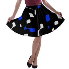 Blue, black and white  pattern A-line Skater Skirt by Valentinaart