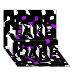 Purple, Black And White Pattern Take Care 3d Greeting Card (7x5)  by Valentinaart