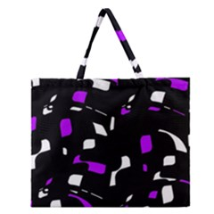Purple, Black And White Pattern Zipper Large Tote Bag by Valentinaart
