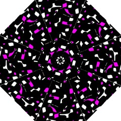 Magenta, Black And White Pattern Folding Umbrellas by Valentinaart