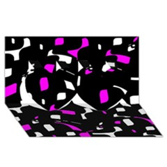 Magenta, Black And White Pattern Twin Hearts 3d Greeting Card (8x4)
