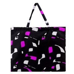Magenta, Black And White Pattern Zipper Large Tote Bag by Valentinaart