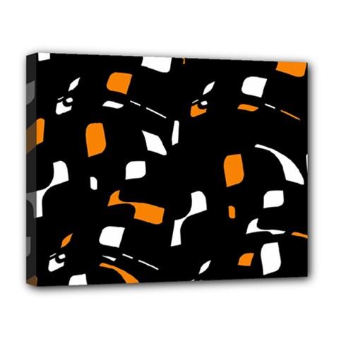 Orange, Black And White Pattern Canvas 14  X 11  by Valentinaart