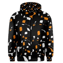 Orange, Black And White Pattern Men s Zipper Hoodie by Valentinaart