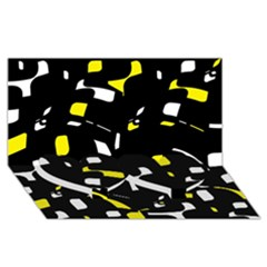 Yellow, Black And White Pattern Twin Heart Bottom 3d Greeting Card (8x4)  by Valentinaart