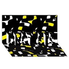 Yellow, Black And White Pattern Best Sis 3d Greeting Card (8x4)  by Valentinaart