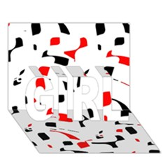 White, Red And Black Pattern Girl 3d Greeting Card (7x5)