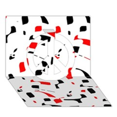 White, Red And Black Pattern Peace Sign 3d Greeting Card (7x5)  by Valentinaart