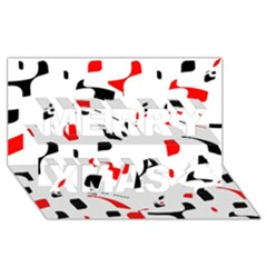 White, Red And Black Pattern Merry Xmas 3d Greeting Card (8x4)  by Valentinaart