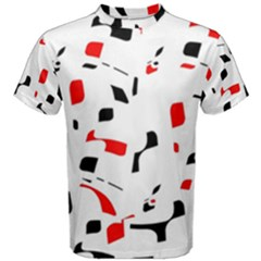 White, Red And Black Pattern Men s Cotton Tee by Valentinaart