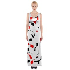 White, Red And Black Pattern Maxi Thigh Split Dress by Valentinaart