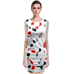 White, Red And Black Pattern Classic Sleeveless Midi Dress by Valentinaart