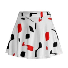 White, Red And Black Pattern Mini Flare Skirt by Valentinaart