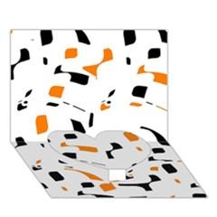 Orange, White And Black Pattern Heart Bottom 3d Greeting Card (7x5)