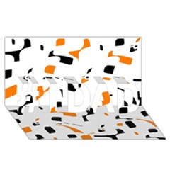 Orange, White And Black Pattern #1 Dad 3d Greeting Card (8x4)  by Valentinaart